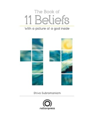 The Book of 11 Beliefs with a picture of god inside